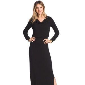 CHICO'S NWOT Cowl Neck Black Maxi Dress Size 0